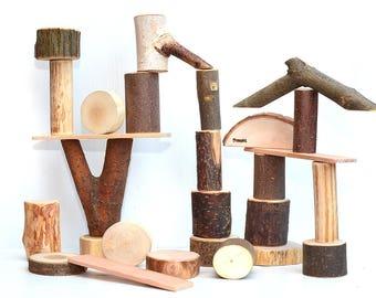 Personalized wood toy, Wooden BIG SIZE tree blocks, Wooden toddler toy, Montessori inspired natural building blocks, Waldorf tree blocks