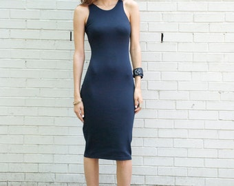 Navy Blue Dress / Ponte Dress / Fitted Dress / Sleeveless Dress / Party Dress / Casual Dress / LBD / Marcellamoda - MD0081