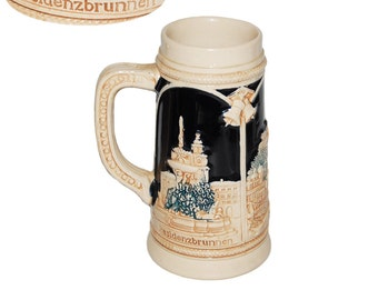 Vintage German Beer Stein Tan and Cobalt Blue without Lid - Mozart-Denkmalm