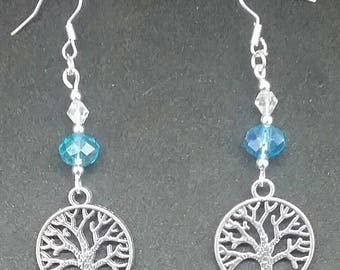 Silver and blue tree of life earrings