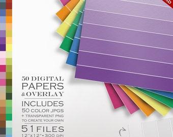 Ombre 51 Piece Ombre Digital Paper Pack - 50 Colors & an Ombre DIY Overlay - Ombre Digital Scrapbook Paper Digi Gradient Digital Digi Paper