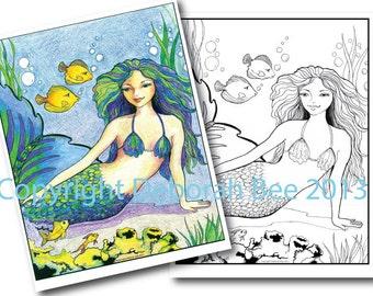 "Printable COLORING PAGE of my Original ""Yellow Tangs"" wave seashore water sleeping Pretty Girl Water bubble Digital download"