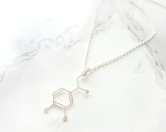 Dopamine necklace, Dopamine Molecule Necklace, Chemistry Necklace, Christmas Gift, Molecule pendant, happy necklace, silver dopamine,Science