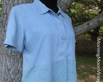 Vintage 90s BLUE LINEN DRESS, cropped jacket top, embroidered peplum, Long Midi/Maxi, Boho Indie Chic, Hippie Bohemian grunge soft elegant M