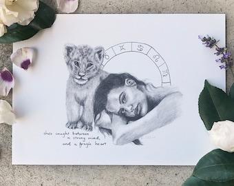 Leo Zodiac Boho Art Print