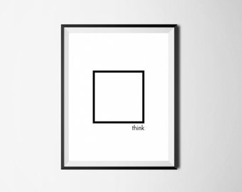 Motivational Print, Think Outside The Box, Motivational Wall Art, Motivational Quote, Minimalist Art, Minimal Digital Print