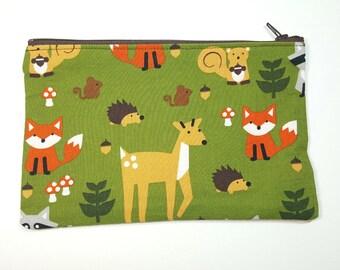 Woodland themed Fabric Zipper Pouch // Fox pencil case // Raccoon Pencil Case