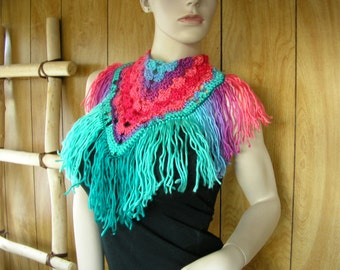 "Crochet fringed bandana neck scarf, hand crochet lace, with 5"" fringe, buttons in the back, 17"" at neck 15"" long including the fringe"