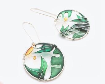 In The Garden Silver Earrings. Lush Green Silver Earrings. Round Silver Earrings. Dangle Earrings. Summer Earrings. KUKLAstudio jewelry.