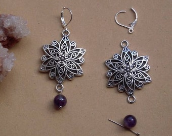 KIT EARRINGS STUD EARRINGS WITH FLOWER LEAF AND VINTAGE PURPLE AMETHYST