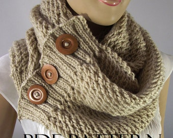 KNITTING PATTERN SCARF Big scarf patterns - LouLou Scarf Cowl Pattern - Bulky Scarf Cowl with wooden Buttons pdf pattern instant download