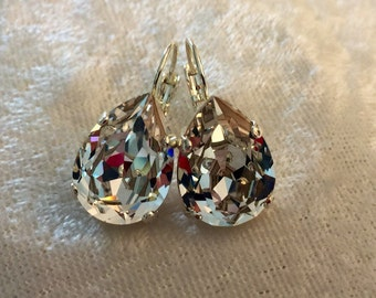 Swarovski crystal tear drop earrings- BLING will be a knock-out!