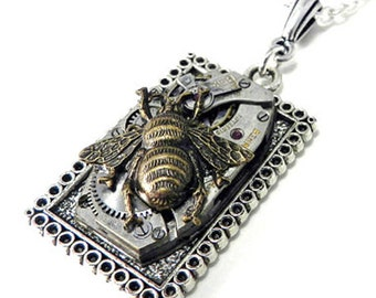 Steampunk Jewelry Victorian Insect Steampunk Necklace, Clockwork Honey Bee - Silver Square