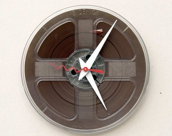 Analog inspired clock, Recycled magnetic tape reel clock, reel to reel clock, analog birthday gift, gift for him, gift for her, industrial