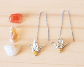 String of Japanese - paper crane Washi Origami earrings gold and yellow jade - Aiko creating jewelry