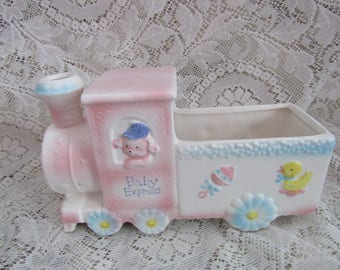 Vintage Baby Express Train Baby  Planter,   Baby Shower Gift,   Japan