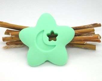 Pale green flower silicone teething ring
