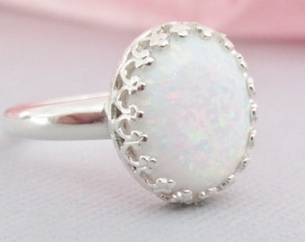 White Opal Ring, October Birthstone Ring, Sterling Silver Opal Jewelry, Oval Opal Ring, Opal Jewelry, Opal Statement Ring