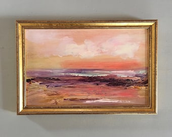 Coral Seascape Painting- Beach- Framed- Small Painting - Original Painting- 6-3/4  x 10  inch - including Frame -  Collectible - Fine Art