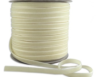 11-1/2 Yards Plush Ivory Velvet Trim 1/4 Inch Wide VR200-IV