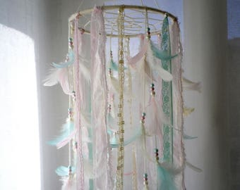 Baby mobile girl boho nursery dream catcher mobile crib mobile ivory cream pink mint feather mobile lace ribbon mobile baby shower mobile