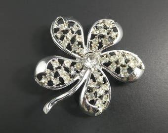 Vintage Rhinestone Flower Brooch, Silver Tone, STY35