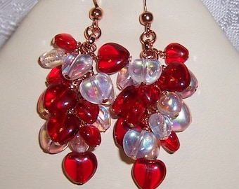Hot Hearts Cluster Dangle Earrings