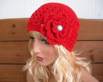 Womens Hat Crochet Hat Women Winter Fashion Accessories Women Beanie Hat Cloche in Cherry Red Hat with Crochet Flower - Choose color