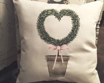 Throw Pillows/Sofa Pillows/Valentine Pillow/Valentine Decor/Heart Topiary Pillow/Topiaries/Heart Topiary/Spring/Spring Decor/Hearts