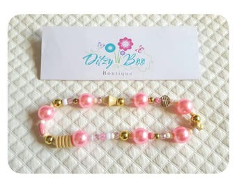 Chunky beaded necklace. Cakesmash prop. 12m. Pink and gold.