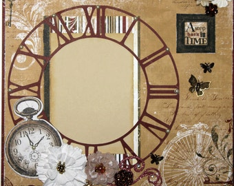 """Premade Scrapbook Page 12 x 12 """"Back in Time"""""""