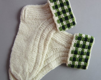 White Wool Soks Socks For Women Hand Knit Wool Socks