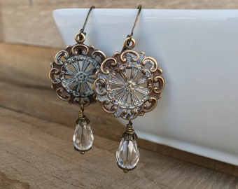 Natural brass filigree and crystal earrings