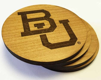 BU Baylor Coasters | Laser Engraved Wood