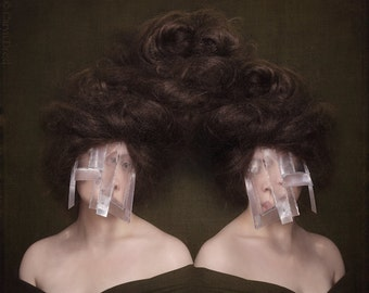 Whats Broken Is Broken  - FREE SHIPPING Surreal Photo Print Twins Creepy Portrait Dark Art Plastic Mask Face Big Hair Twisted Wall Decor