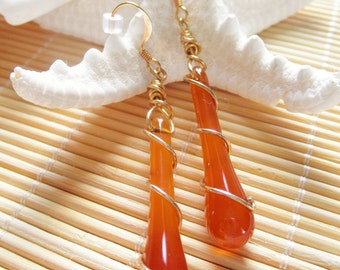 Red Agate Gold Wire Wrapped Earrings