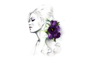 Yvonne Floral Fashion Illustration with Purple Lisianthus Flowers    Wall Art   Illustration & Photography   A4 SIGNED Giclee Print