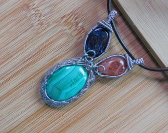 Pietersite Sunstone Malachite Cabochons Pendant Wire Wrapped Boho Jewelry Handmade Titanium Parawire Wire Three Stones Pendant Leather Cord