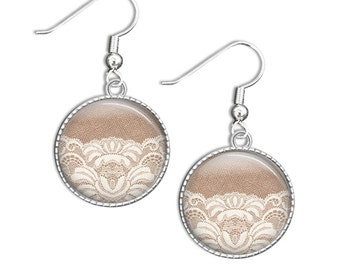 Silver Earrings - Glass Photo Jewelry - Lace Earrings - Lace Photo Jewelry - Silver Glass Earrings (lace 6)