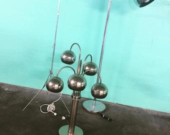 Vintage Mid Century Modern Atomic Chrome Multi Eyeball Table Lamp