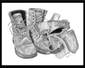 Pencil art drawing of a pair of construction work boots