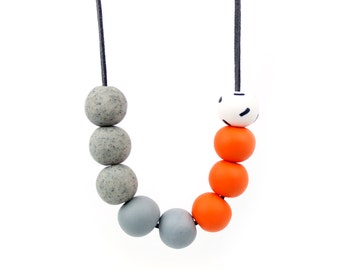 Orange and Grey Bead Necklace, Orange Statement necklace, Chunky bead necklace, orange and grey necklace, statement necklace, grey necklace