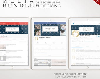 Social Media Template Kit - Nautical Facebook Cover, Twitter Header and YouTube Channel Art Templates - Social Media Brand BDSM AAC