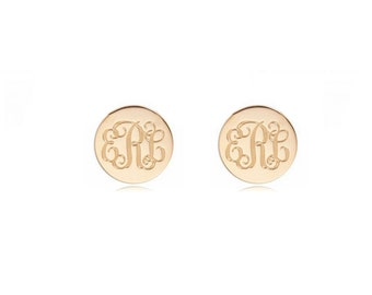 Initials monogram earrings, personalized earrings, 18k rose gold plated 925 sterling silver custom made 3 initials stud earrings