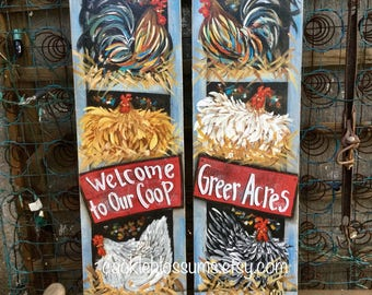 """11"""" X 36"""" #505 Rooster and Hens Nesting Art on Rustic Wood"""