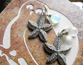 Tibetan Silver starfish SeaStar with Faceted Moonstone Charm for your Sterling Chain Necklace