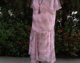 Smokey Print Lilac Chiffon Dress Late 1920's Inspired Designer Sample Item #319  Wedding Apparel