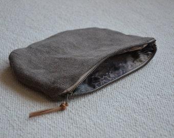 Hemp purse organic woven hemp raw dyed brown natural botanical plant herbal gaia wellness zip bag men womens eco gift vegan kakishibu earthy