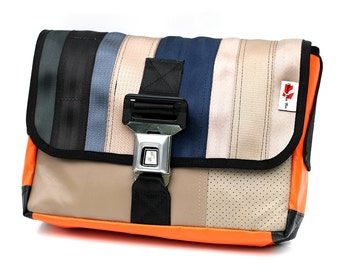 Messenger handmade from recycled car seat belt and car seats (905D)