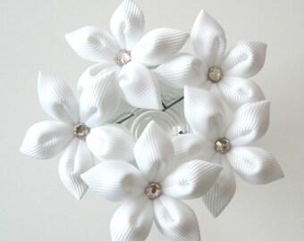 White flower hair pins for bride, Wedding hair flowers Bridal hair accessories Bridal Hair Pins.Set Of 5 White Stephanotis Hair Pins